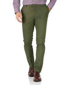 Bügelfreie Extra Slim Fit Chino Hose ohne Bundfalte in Grün
