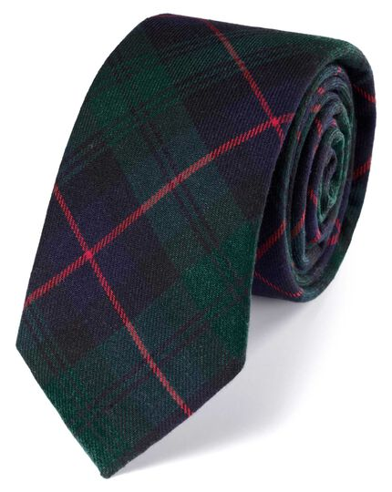 Slim navy and green cotton tartan classic tie
