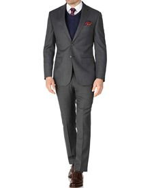 Grey slim fit sharkskin travel suit