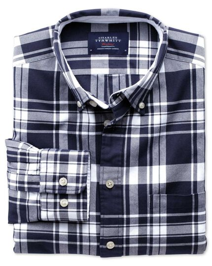 Classic fit navy and white check washed Oxford shirt