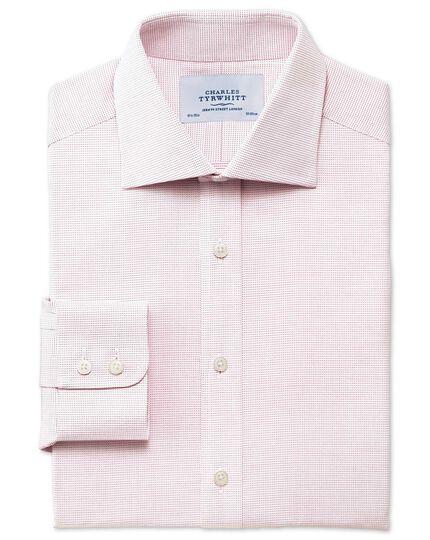 Classic fit semi-spread collar pindot red shirt