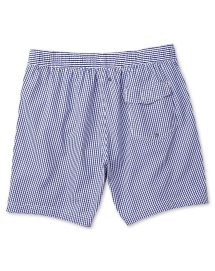 Blue and white check swim shorts