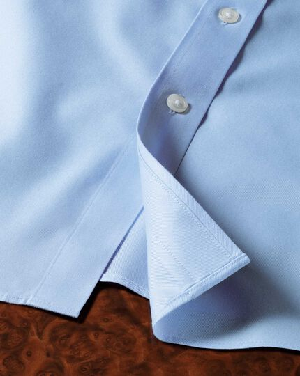 Slim fit button down collar non-iron twill sky blue shirt