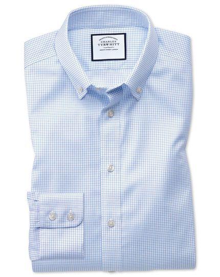 Slim fit button down non-iron twill mini grid check sky blue shirt