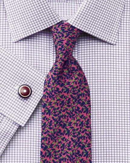 Extra slim fit non-iron Windsor check purple shirt