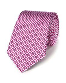 Pink silk classic puppytooth tie
