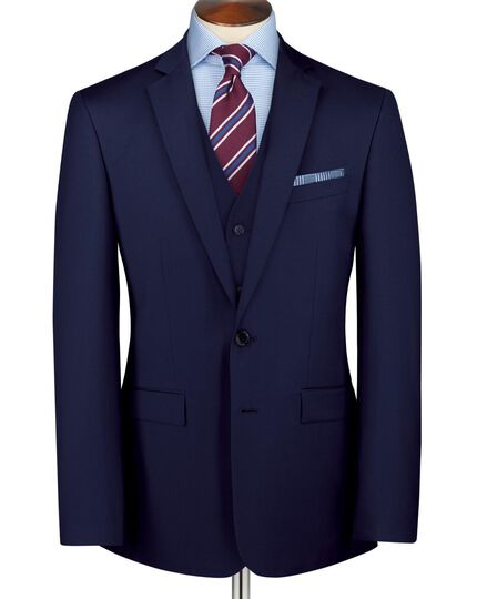 Royal blue classic fit twill business suit jacket