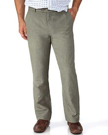 Olive slim fit cotton linen trousers