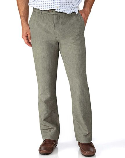 Olive slim fit cotton linen pants