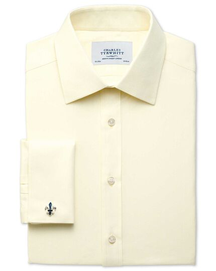Extra slim fit Egyptian cotton cavalry twill yellow shirt