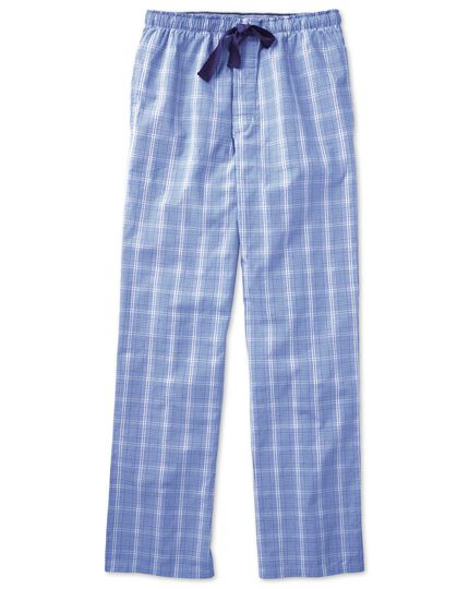 Royal blue Prince of Wales cotton pajama pants
