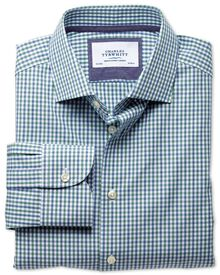 Slim fit semi-spread collar business casual melange green check shirt