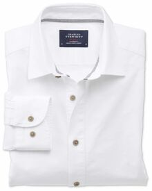 Slim fit spread collar popover white shirt