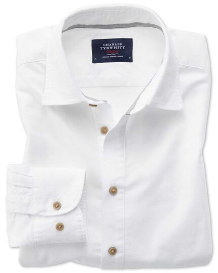 Classic fit popover off white shirt