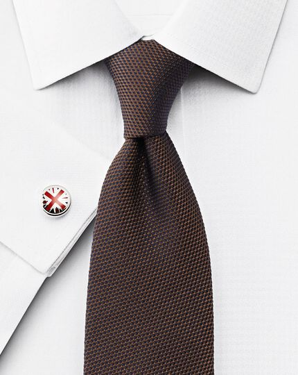 Classic fit non-iron houndstooth white shirt