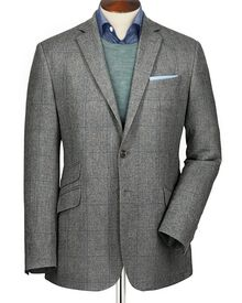 Silver classic fit windowpane check luxury summer tweed jacket