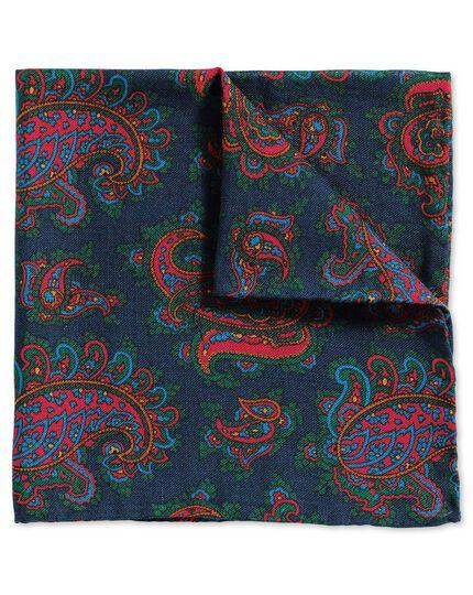 Luxuriöses englisches Einstecktuch in Marineblau und Rot mit Paisley Muster