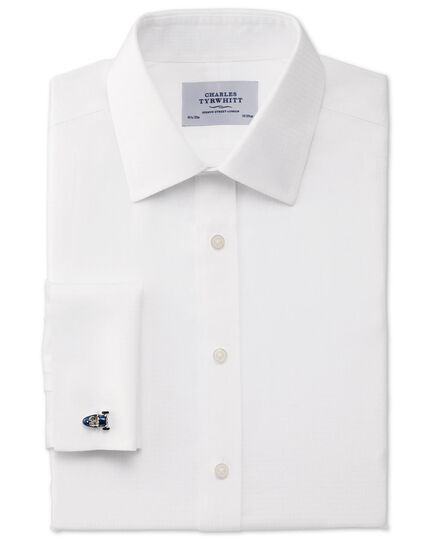 Slim fit non-iron houndstooth white shirt