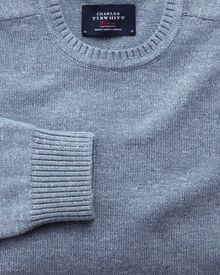 Sky blue heather crew neck jumper