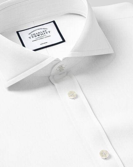 Slim fit extreme cutaway collar non iron twill white shirt for White cutaway collar shirt