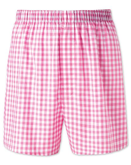 Pink gingham woven boxers