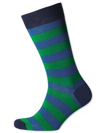 Royal and green wide stripe socks