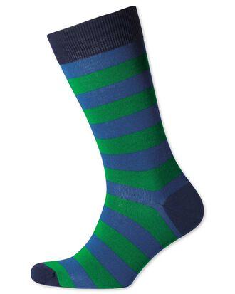 Royal and green wide stripe socks