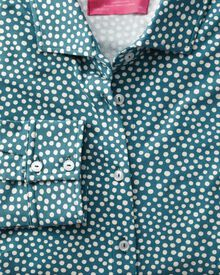 Teal and white spot print semi fitted stretch jersey shirt
