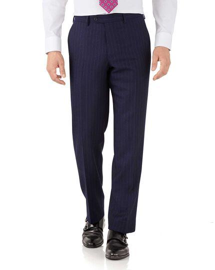 Classic Fit Business Anzug Hose aus Flanell in marineblau mit Streifen