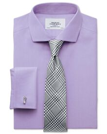 Slim fit cutaway collar non-iron twill lilac shirt