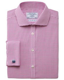 Extra slim fit non-iron cutaway collar basketweave check raspberry shirt