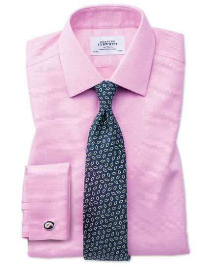 Bügelfreies Classic Fit Hemd in Rosa mit gewebten Quadraten