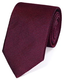 Wine silk plain classic tie