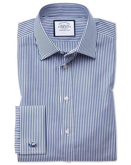 Extra slim fit Bengal stripe navy blue shirt