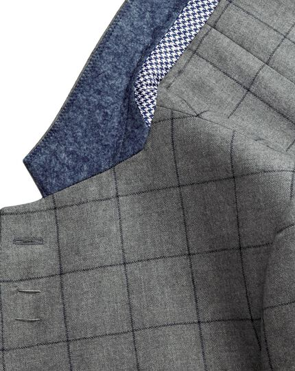 Grey with navy slim fit check Yorkshire worsted jacket