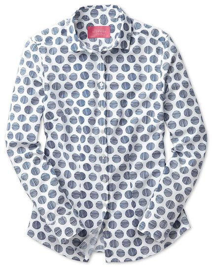Women's semi-fitted cotton poplin white and navy spot stripe shirt