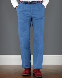 Mid blue classic fit single pleat weekend chinos