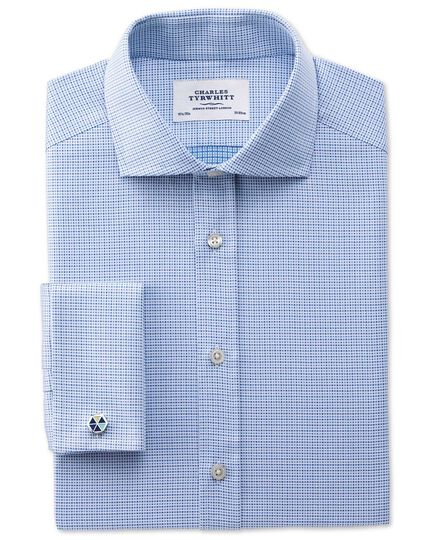 Slim fit spread collar Egyptian cotton textured blue shirt