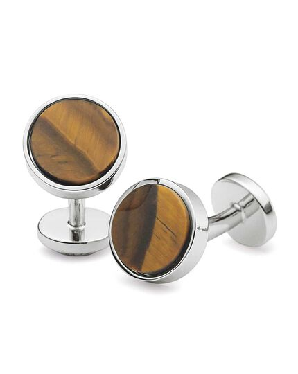 Tiger's eye stone cuff links