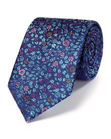 Navy silk luxury multi floral tie