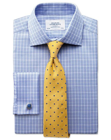 Extra slim fit Prince of Wales basketweave sky blue shirt