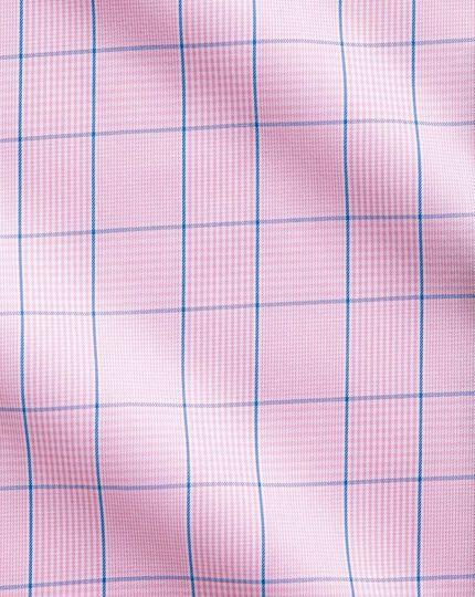 Bügelfreies Classic Fit Kurzarmhemd in Rosa mit Prince-of-Wales-Karos
