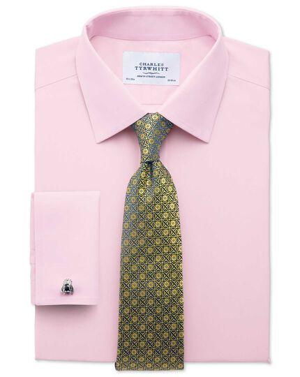 Classic fit non iron poplin light pink shirt