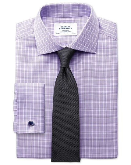 Extra slim fit Prince of Wales basketweave lilac shirt