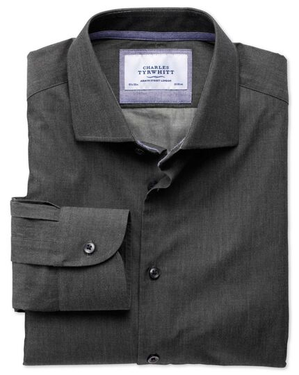 Extra slim fit semi-cutaway collar business casual charcoal shirt
