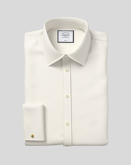 Classic fit non iron poplin cream shirt