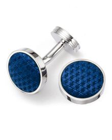 Blue round silk cuff links
