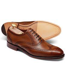 Ashton Budapester Oxford-Schuh mit Flügelkappen aus Kalbsleder in schokoladenbraun
