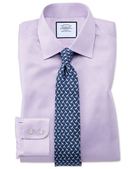 Slim fit non-iron puppytooth lilac shirt