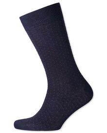 Navy and pink micro dash socks